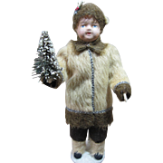 German Paper Mache Christmas or Winter boy, Molded hat, cloth body, 12""