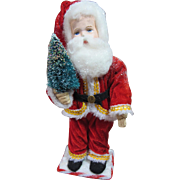 German Paper Mache Santa with cloth body, 12""