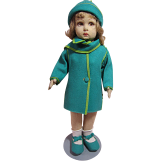 """Lenci character girl in original turquoise coat and hat, 15"""""""
