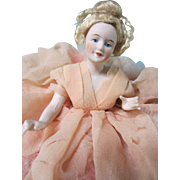 Half doll pincushion type, German bisque, jointed arms, Elegant