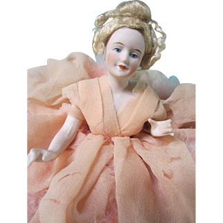Half doll pincushion type, German bisque, jointed arms, Elegant