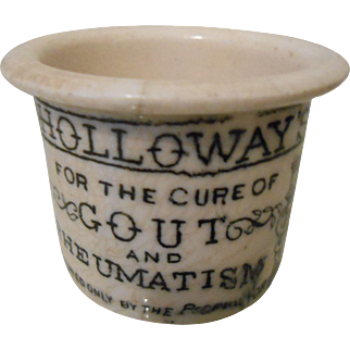 19thC English Medicine Pot - Holloway's Ointment- FREE DOMESTIC SHIPPING