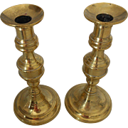 "Beautiful Pair of 19thC Antique English Candlesticks-with Original ""Pushers"""