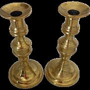 "Beautiful Pair of 19thC Antique English Candlesticks-with Original ""Pushers"""