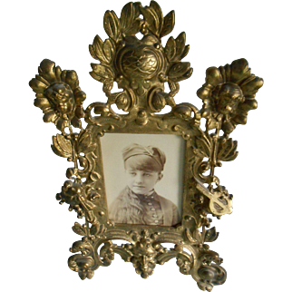 19thC Solid Brass Portrait Frame-Elaborate and Nice!