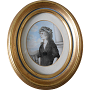 Beautiful Antique Portrait Miniature of Woman in Georgian Dress-C1790!