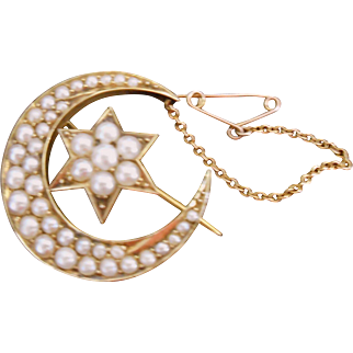 Lovely Antique Victorian Half Moon Pin-Loaded with Pearls 14K Gold!