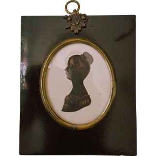 Antique Georgian Painted Silhouette of Lady in Original Frame