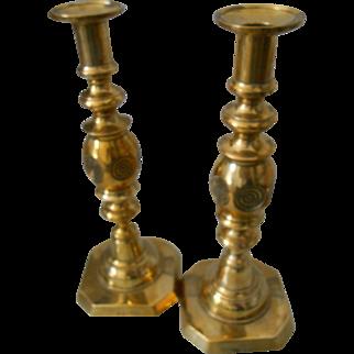 Antique 19thC English Large Brass Candlesticks-Bulls-eye