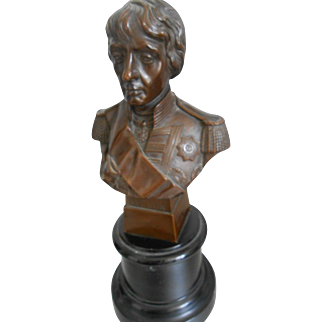 Antique Copper Bust of Lord Nelson on Stand-Very Fine!
