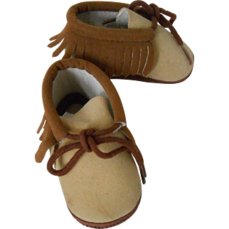 Lovely Pair of Suede Moccasins for Doll