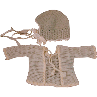 Antique Knitted/Crotcheted Baby/Doll Jacket & Hat-Perfect!