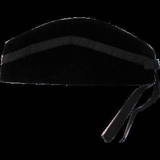 Antique Black Velvet Scottish Glengarry Hat-1900