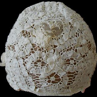 Antique Handmade Lace Bonnet-Beautiful! Child/Doll