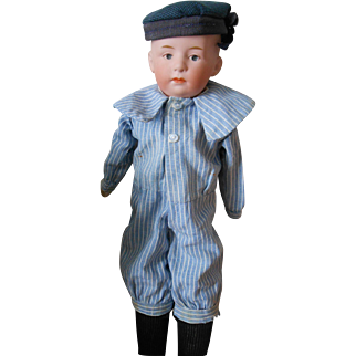 Antique Gebruder Heubach Pouty Boy Doll-Great Costume-Perfect head!