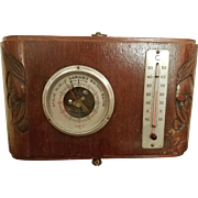 French Art Deco Weather Station; Barometer, Thermometer, Carved Wood, c. 1930