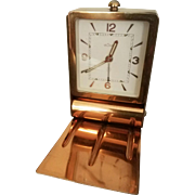 French Art Deco Watchmaker LeCoultre Travel Alarm Clock, c 1934