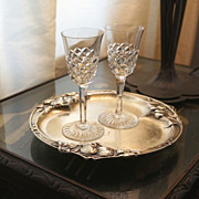 Pair of French BACCARAT White Wine or Port Crystal Glasses 1933 Burgos Pattern