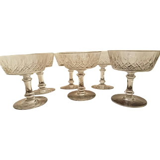 6 Antique Baccarat French Crystal Champagne Coupes, Glasses, 1904, Perfect!