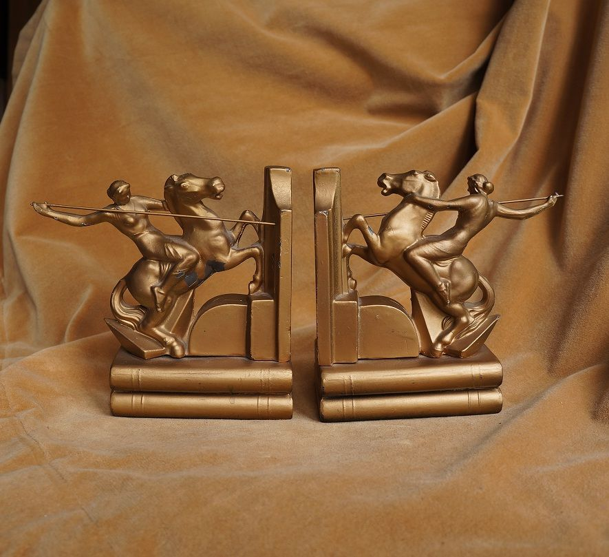 Art Deco Bookends: Semi Nude Diana the Huntress on Horseback
