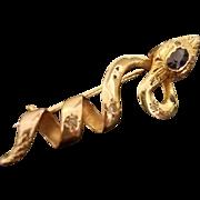 French Antique Art Nouveau 18K Gold, Diamonds, Saphire, Snake, Serpent Brooch, Pendant, c. 1890