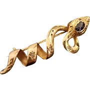 French Antique Art Nouveau 18K Gold, Diamonds, Saphire, Snake, Serpent Brooch, Pendant, c. 1890