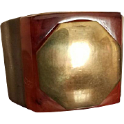 ALBERT FLAMAND PARIS Fladium Déposé Cuff Bracelet With Hidden Compact and Mirror c 1934