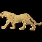 Vintage 18K Gold Leopard Brooch, Diamond Spots, Ruby Eye