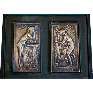 French Art Nouveau Sterling Silver Plaques, Nudes and Cherubs, Museum Pieces, Signed