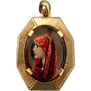 Camille Fauré French 18K Gold, Art Deco Enamel Pendant of Beautiful Woman, c. 1925
