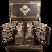 Antique French Cave a Liqueur, Liquor Cabinet, Baccarat Decanters, Glasses, c 1800