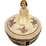 French Art Deco Sarreguemines Figural Nude Bathing Beauty Vanity Box c. 1920s