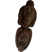 OLD French Carved Wood Heads, One Sweet, The Other Devilish, Cathedral Adornment