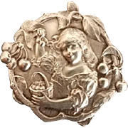 Emile Dropsy French Art Nouveau Silver Brooch, Lovely Girl Picking Cherries, c 1900