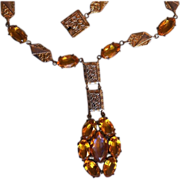 Fabulous Ornate French ART DECO Jeweled Necklace, Amber  Glass Stones