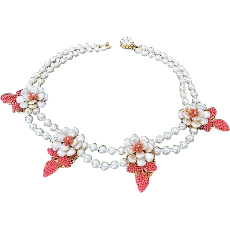 OLD Miriam Haskell Creamy Baroque  Costume Pearl Necklace, Floral Starburst Centerpiece, c 1950