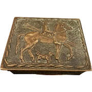 French Art Deco Max LeVerrier Ornate Bronze Box, Macedonian Horseman c. 1926