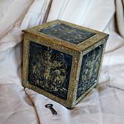 Antique French Napoleon III Bronze Opium Box w Key, Lady, Dragons, c 1840
