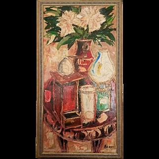 Large Mid 20th Century Modernist Still Life Oil Painting of Flowers, Lanterns, Vases on Table, sgned Milko
