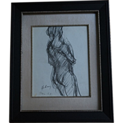 Paul Hubay Original Pencil Drawing of Ballerina, Paris France 1961