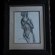 Paul Hubay Original Pencil Drawing of Ballerina, Paris France 1961