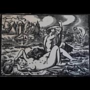 French Art Deco Paul Vera Woodblock of Nude Women, c 1925