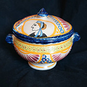 Huge FRENCH  QUIMPER Bonbonniere Covered Candy Pot, Ivoire Corbeille c 1928