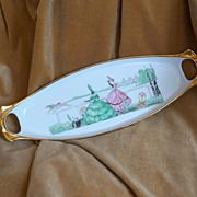 French Art Deco Robj Limoges Horse Racing Tray Platter c 1928
