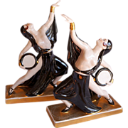 ROBJ Paris Art Deco Semi Nude Tambourine Dancers Bookends c 1925