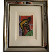 Raymond Trameau French Art Deco Nude Watercolor (2) c 1925, Framed