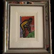 Raymond Trameau French Art Deco Nude Watercolor (2) c 1925, Framed