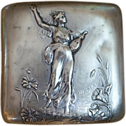 French Art Nouveau Emile Dropsy Lovely Maiden Silverplate Cigarette, Card Case c 1890 - Red Tag Sale Item