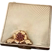Ornate Art Deco Sterling Silver, 14K Gold, Rubies Compact by Shreve, Crump & Low, 1940s
