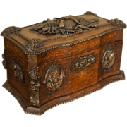 Exquisite 19th Century Tea Caddy with Carved Nubian Faces, French or English 1850